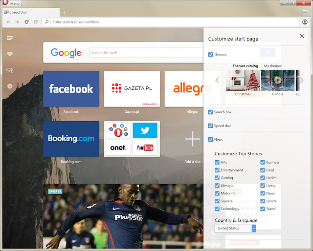 New Opera browser