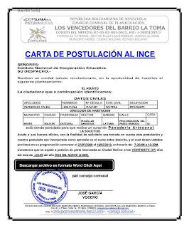 Carta de postulación para hacer curso en el INCES