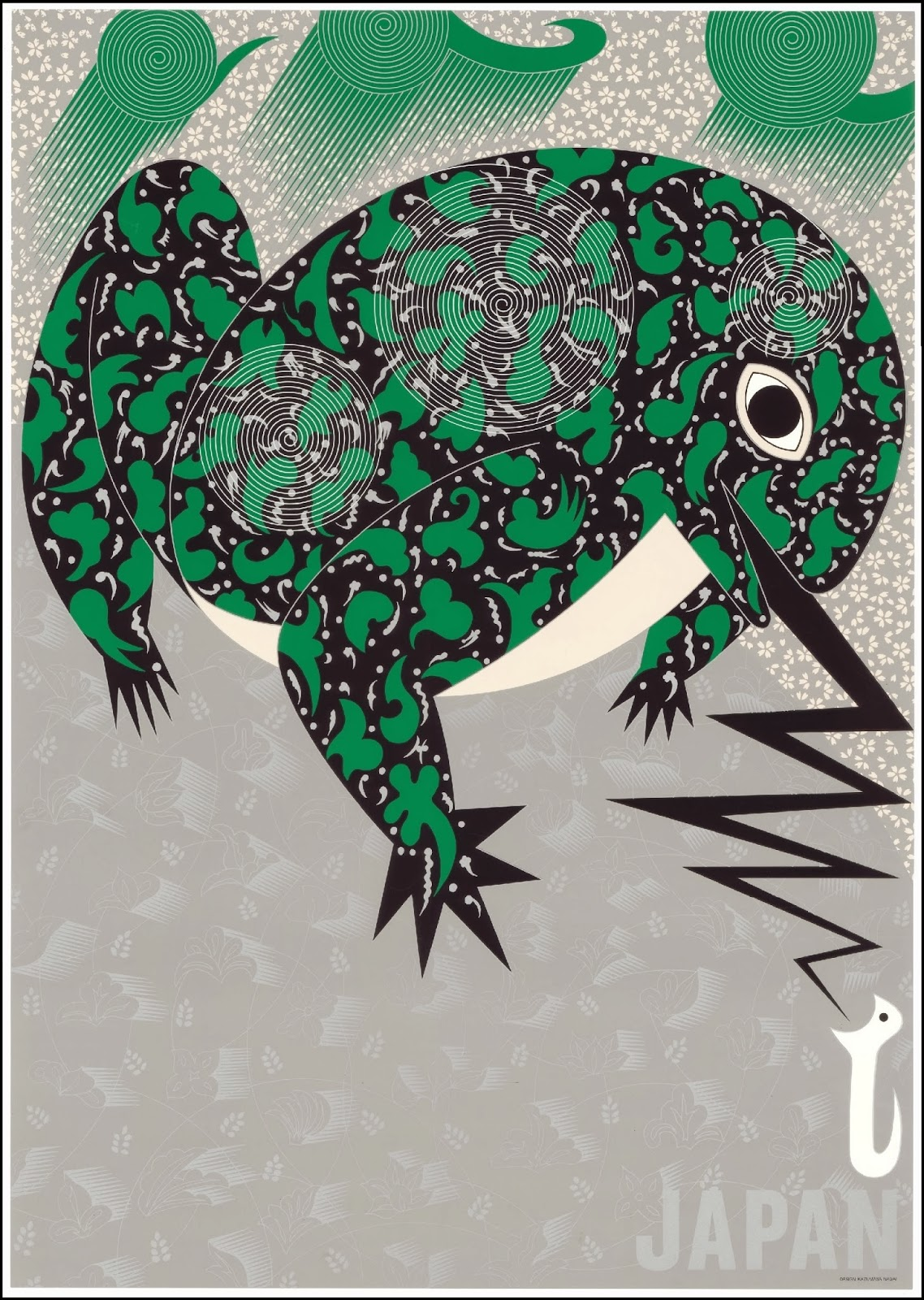 japanese poster of semi-stylised patterned green frog with tongue out to catch an insect