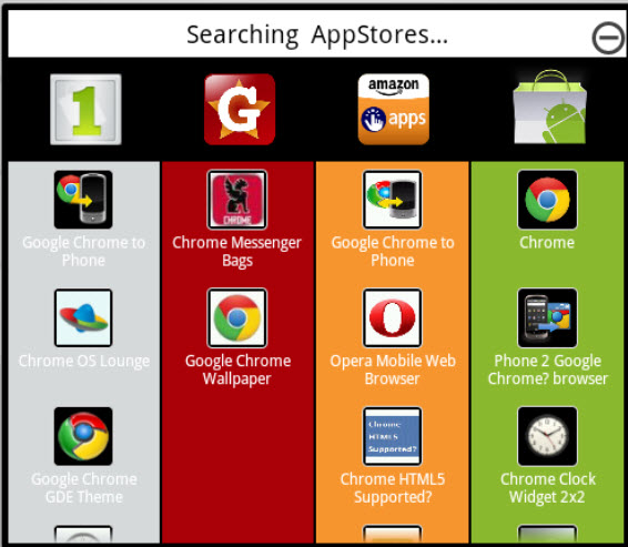 Apps displayed from various app stores