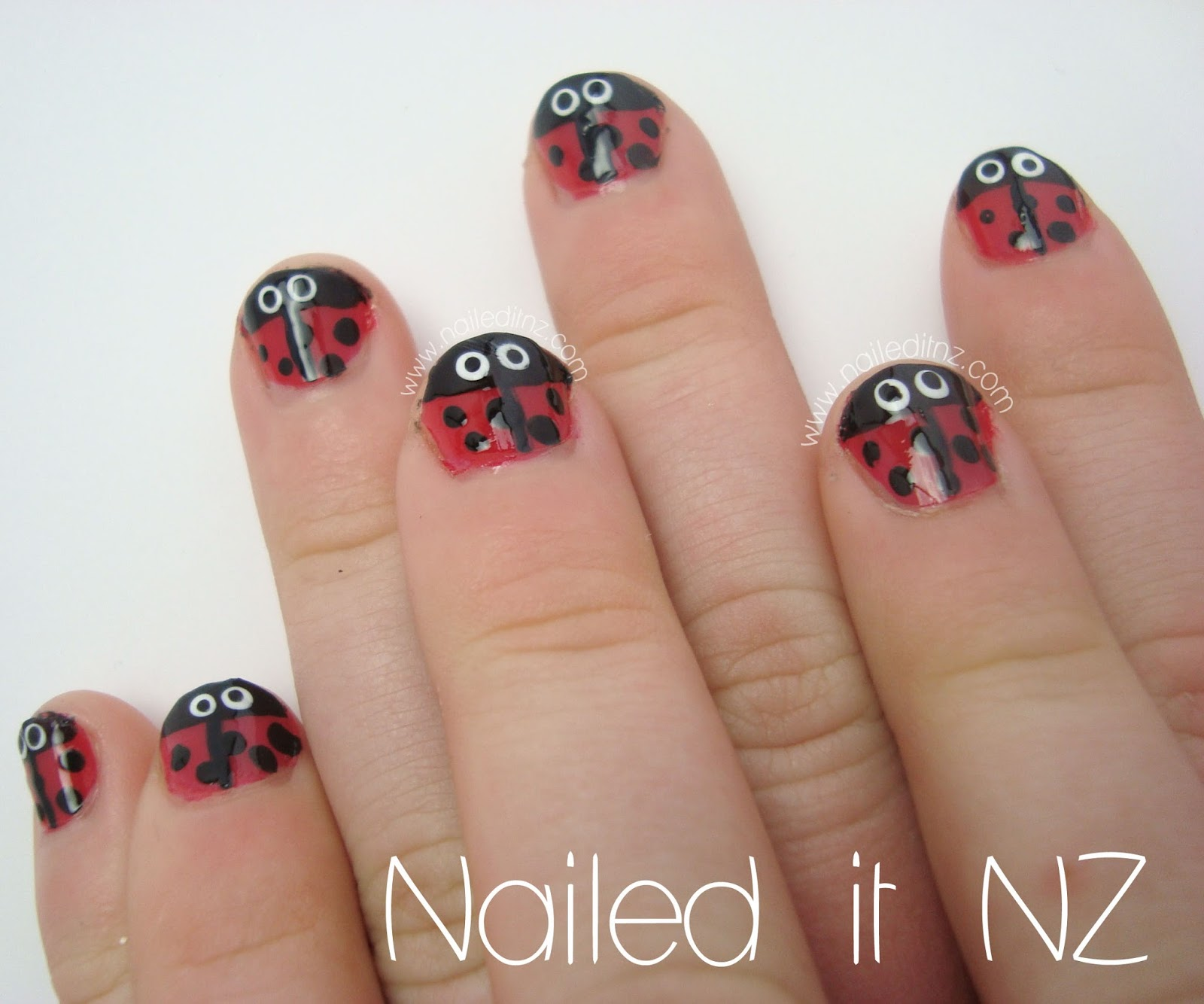 Nail Art For Kids Ladybugs Bright Brushstrokes And Roses
