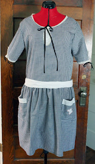 1920s dress gingham check reproduction