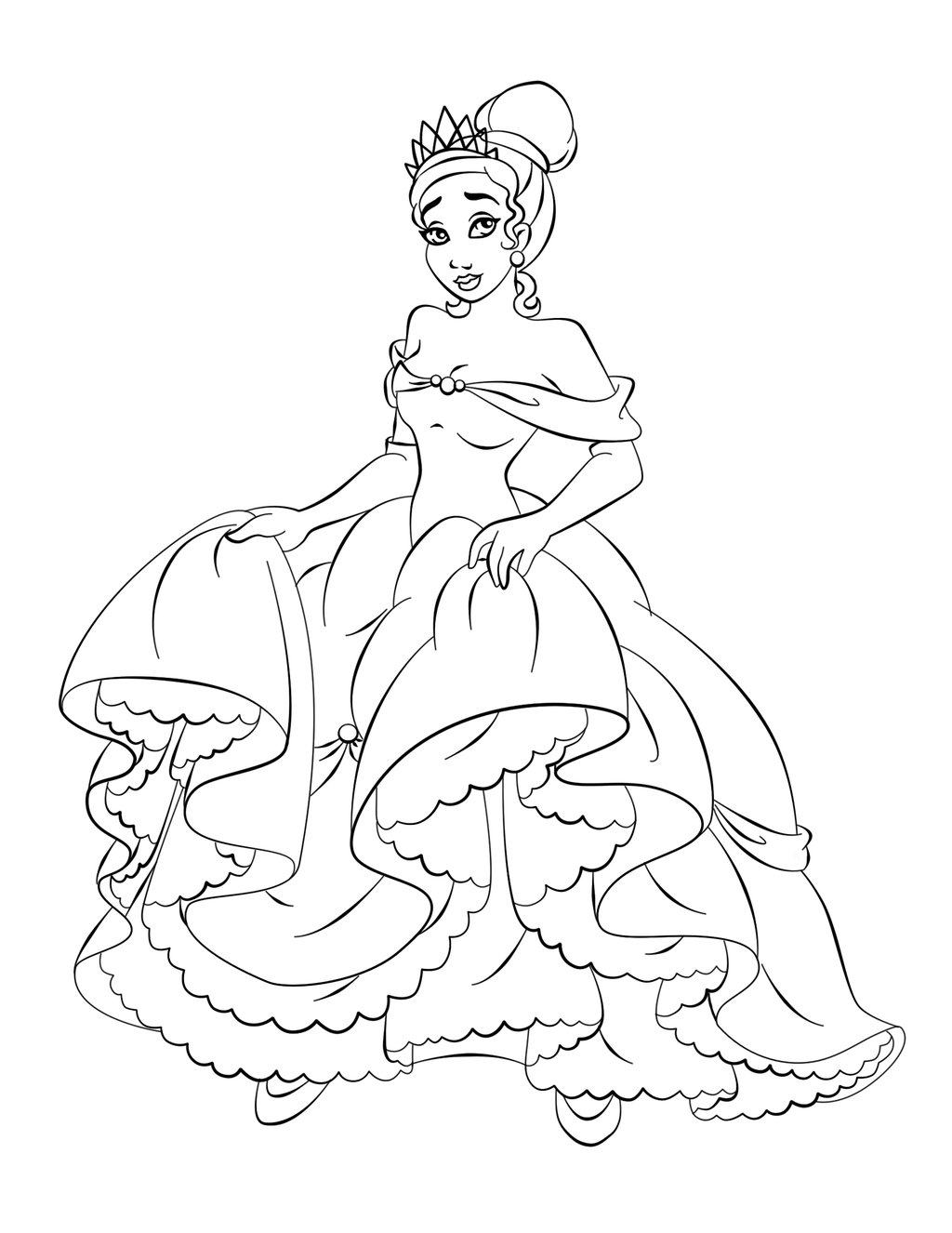 Coloring Pages Halloween Princess : Disney princess tiana coloring pages to girls