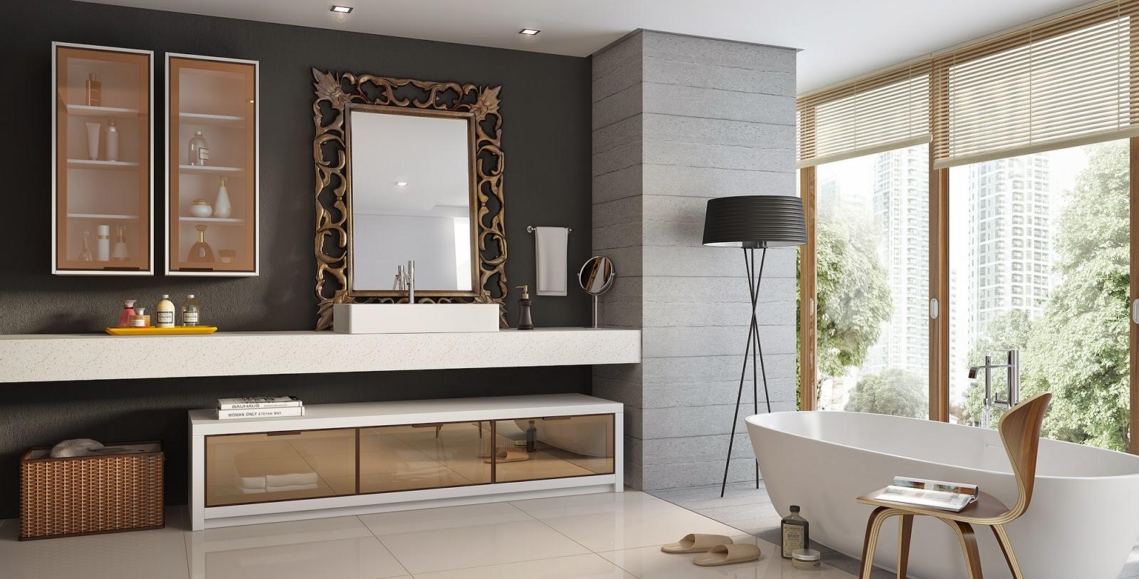 Banheiro social. Légno Móveis Planejados #664B37 1600x813 Balcao De Banheiro Planejado