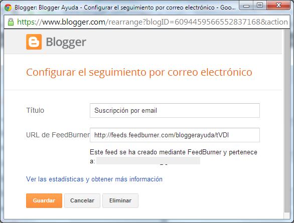 Gadget seguir por correo electrónico de Blogger