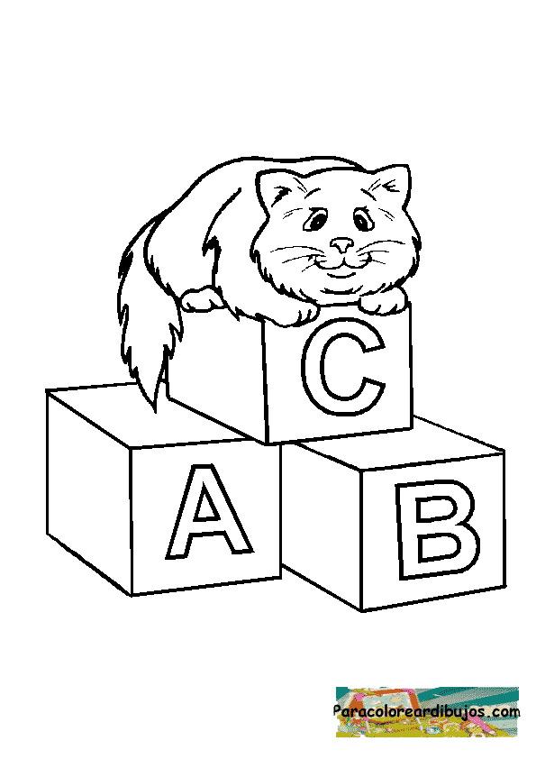 gato con cubos para colorear