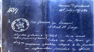 Negative Image of a letter from directors of the East India Company ordering an inquiry into the allegations of torture raised in a recent parliamentary debate.Credit: Parliamentary Archives, 26 July 1854