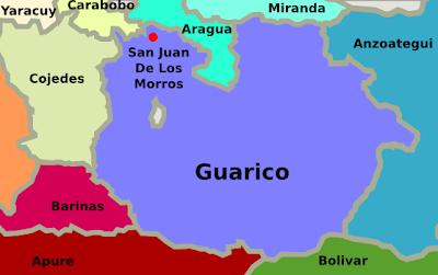 Mapa del estado Guarico Venezuela