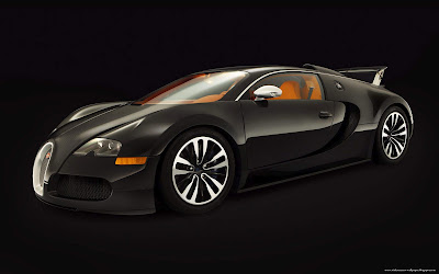 Bugatti Veyron Car Black With Orange Interior Wallpaper