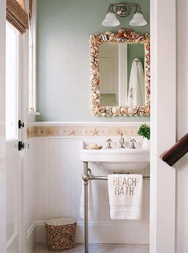 beach bathroom ideas. bathroom mirror with shells 15 Beach Bathroom Ideas  Completely Coastal