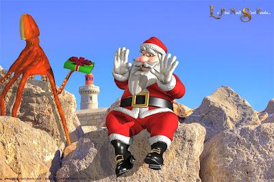 Le poulpe et le Père Noël devant le phare, à Sète