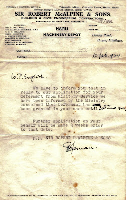 Letter of deferment of active duty for World War II