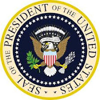 a photo of the US President Seal that reads Seal of the President of the United States with an eagle in the center of the seal