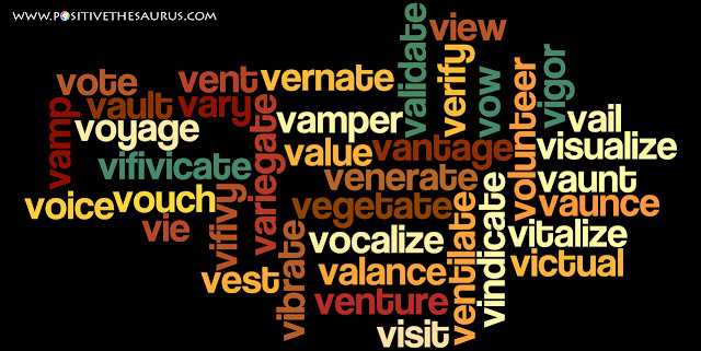 positive verbs that start with v word cloud