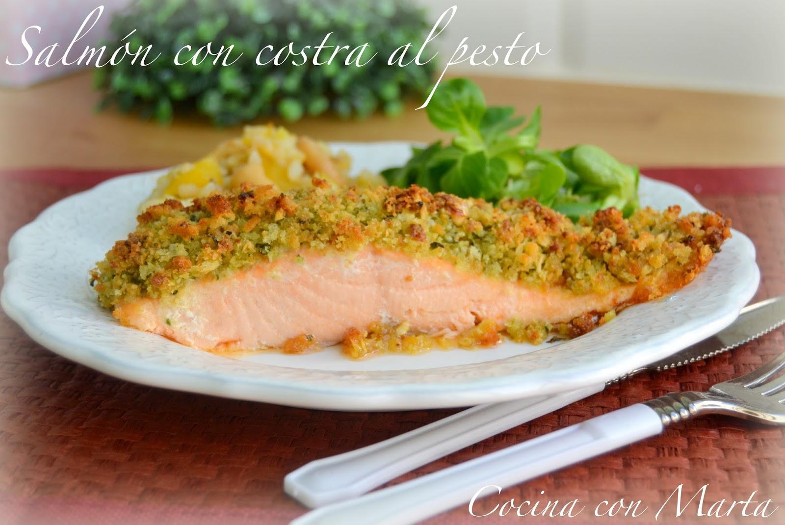 Salmon al horno con costra al pesto - Como hacer espaguetis al pesto ...