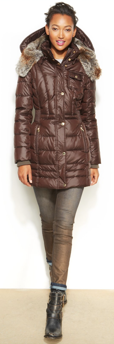 Laundry by Design Hooded Faux Fur Trim Puffer Coat