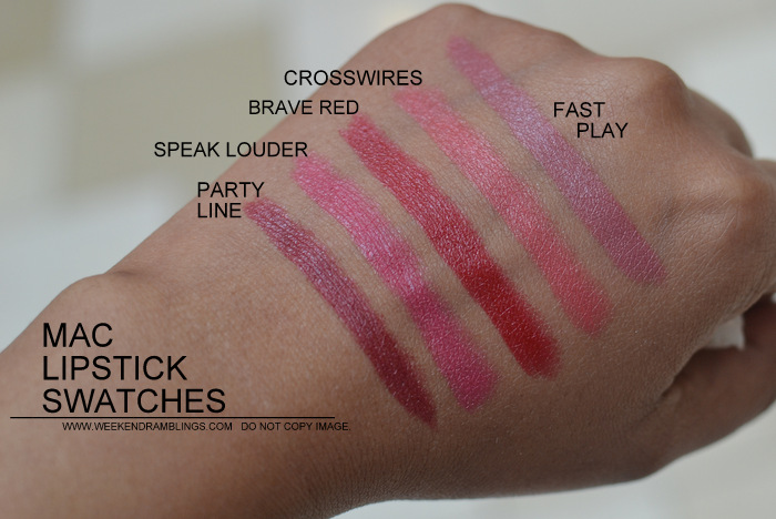 MAC Lipsticks swatches Indian Darker Skin NC45 Makeup Beauty Blog Party Line Speak Louder Brave Red Crosswires Fast Play