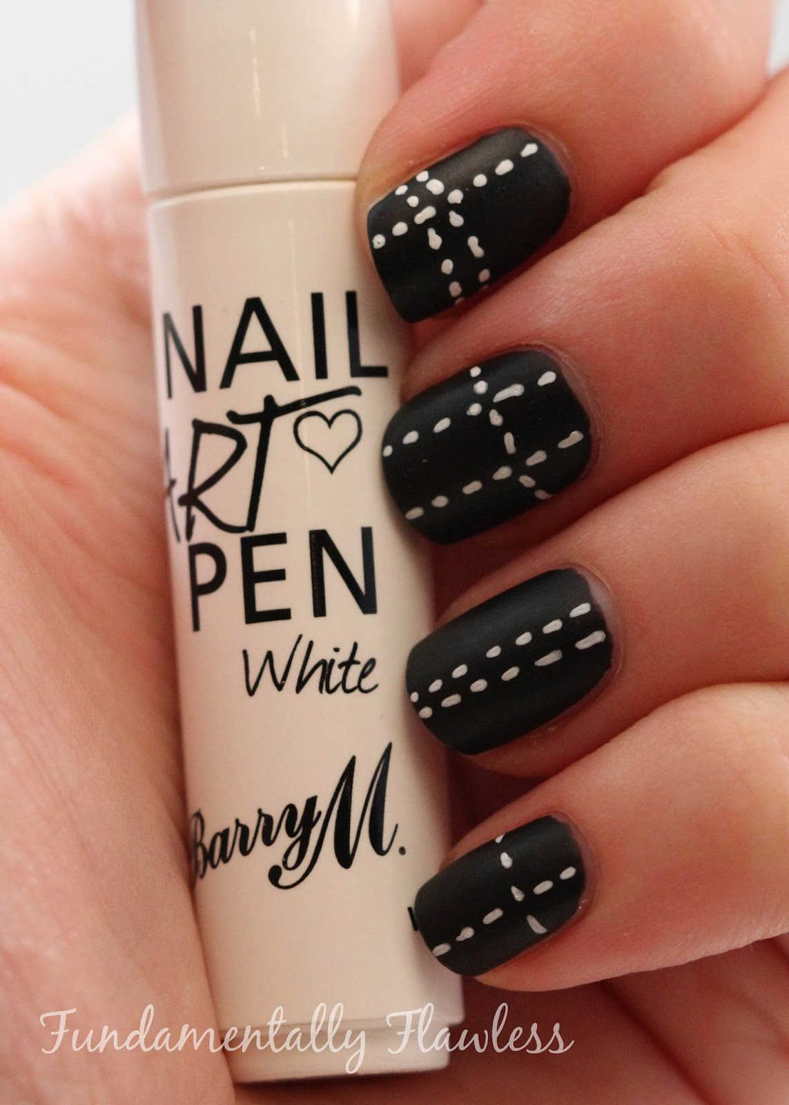 Fundamentally Flawless: Barry M Matte Black with White Stitches Nail Art