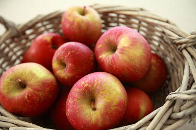 A basket of homegrown apples