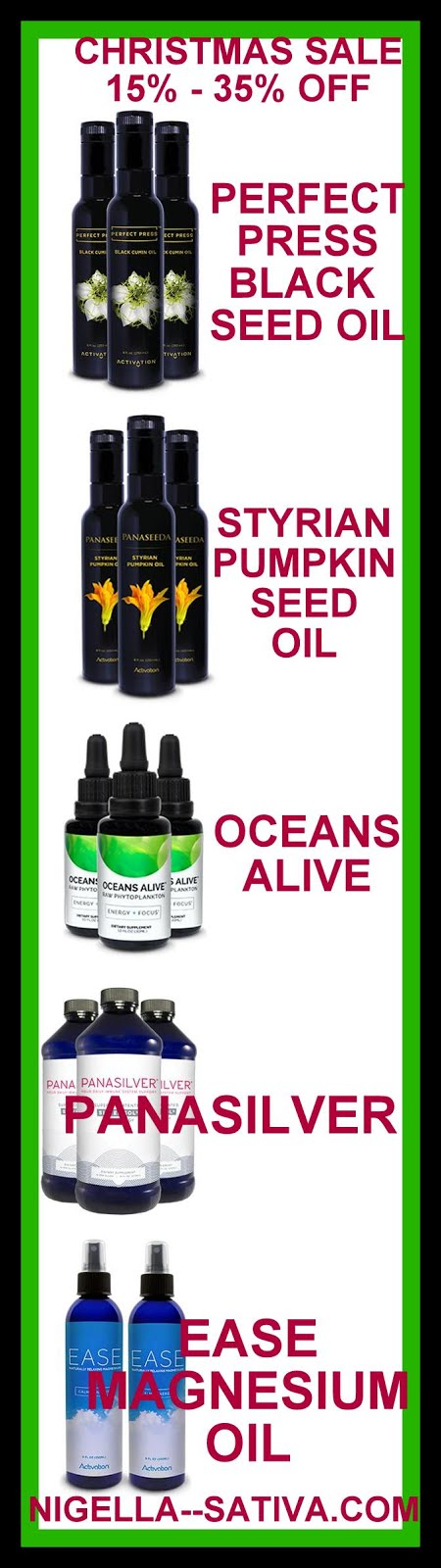 CHRISTMAS - HOLIDAY SALE - BLACK SEED OIL AND MORE ON SALE