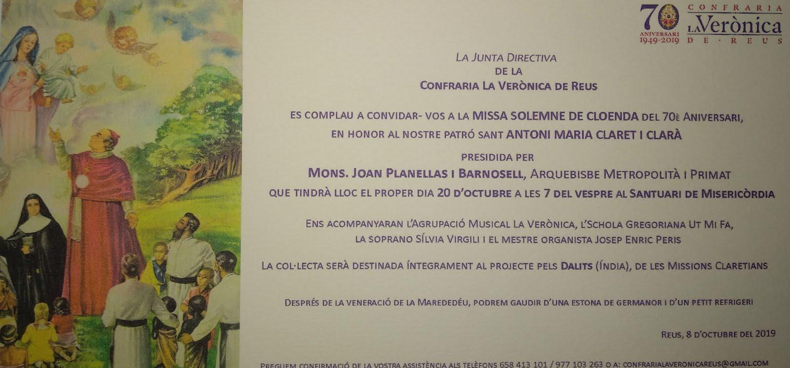 Cloenda del 70 aniversari de la confraria de La Verònica