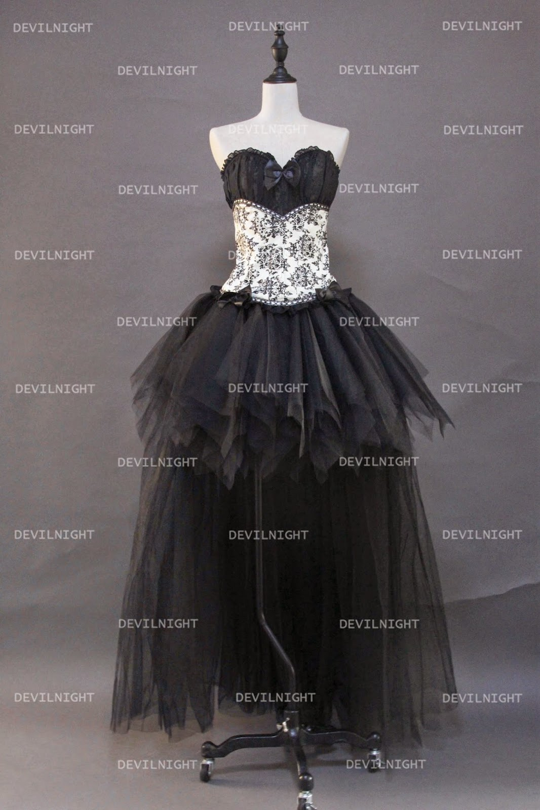 Fashion Gothic Corset High-Low Burlesque Prom Party Dress