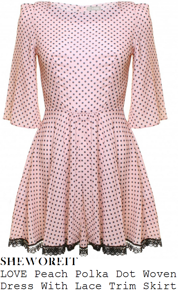 jessica-wright-pink-and-black-polka-dot-spot-print-dress-towie