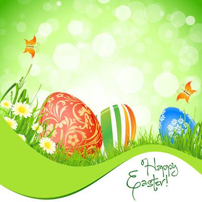 fondo en tonos verdes con huevos de pascua