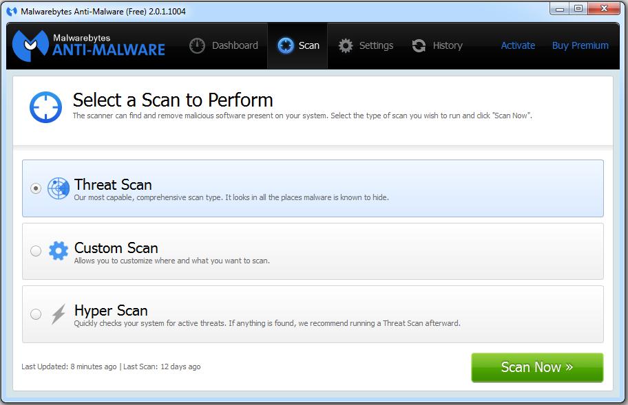 Malwarebytes Anti-Malware 2.0 Free - Scan Types