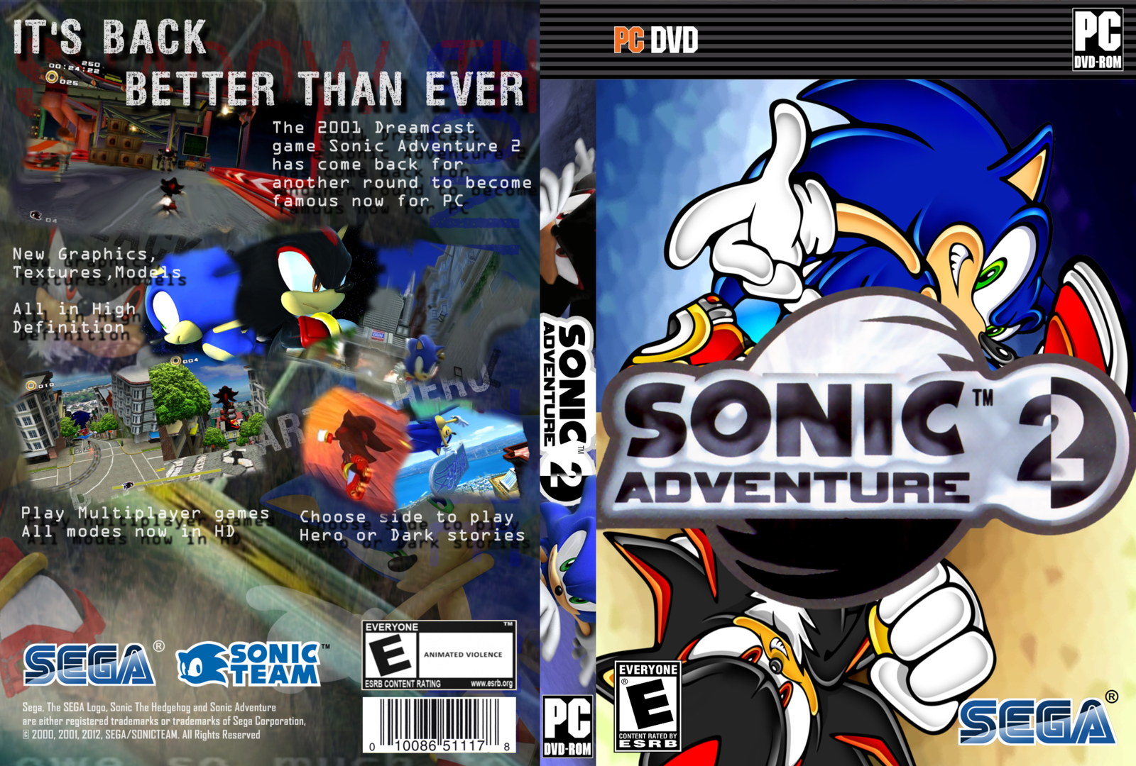 Sonic Adventure 2 PC DVD Capa