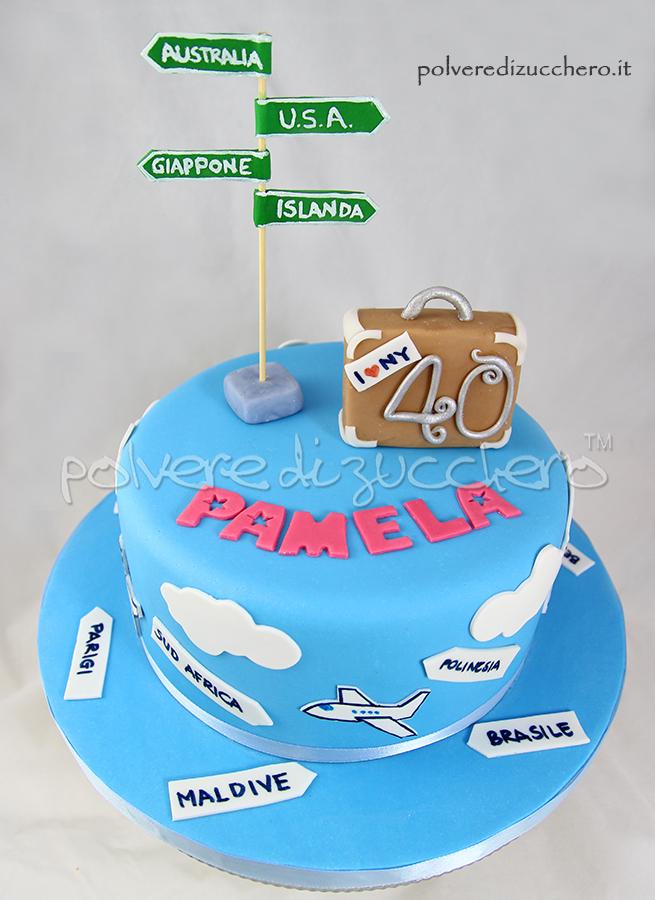 torta viaggi per un 40° compleanno: con valigia, cartelli ed indicazioni in pasta di zucchero per chi ama viaggiare