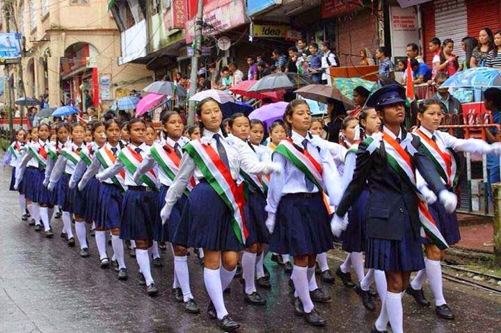 Independence Day celebration in kalimpong mela ground student marching on