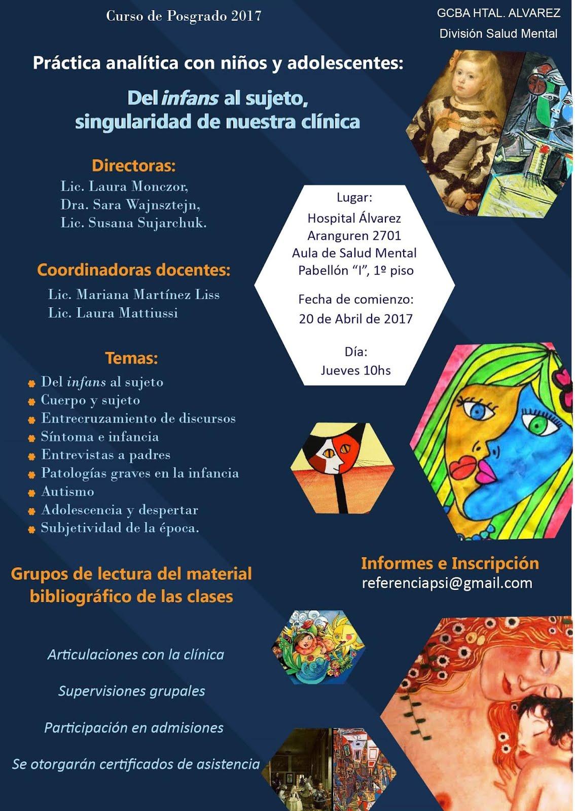 CURSO DE POSTGRADO EN CLÍNICA CON NIÑOS Y ADOLESCENTES ABRIL-NOV 2017