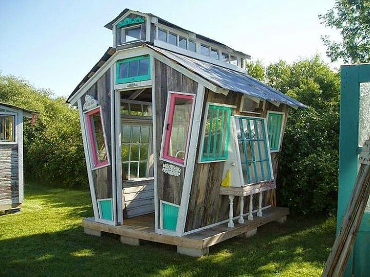 The Art Of Up-Cycling: Garden Shed Old Windows- Bottles - Awesome Random Ideas