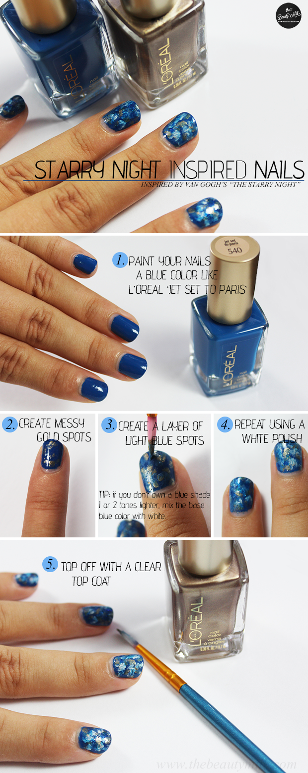 loreal jet set to paris van Gogh starry night nail tutorial manicure
