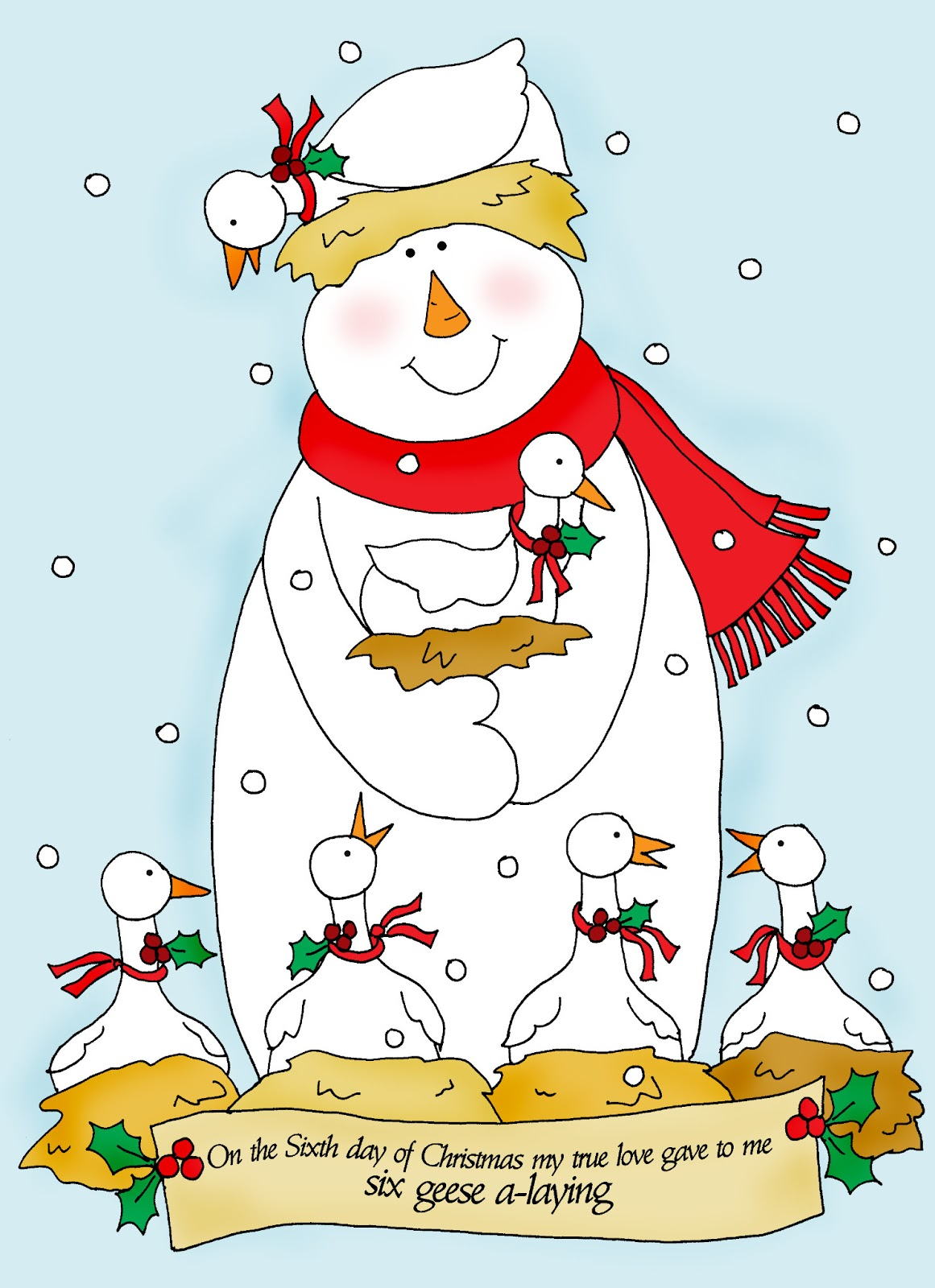 Free Dearie Dolls Digi Stamps: On the Sixth Day of Christmas.....