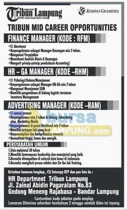 Tribun MID Career Opportunities, Lowongan Kerja Tribun Lampung, Tribun MID Career Opportunities