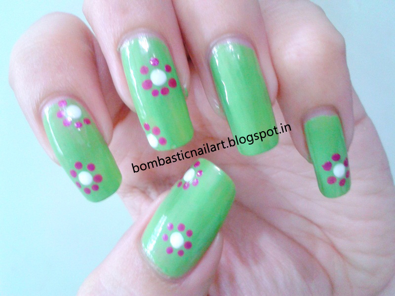 A New Trial With Green Dotting Nail Art Bombastic Nail Art