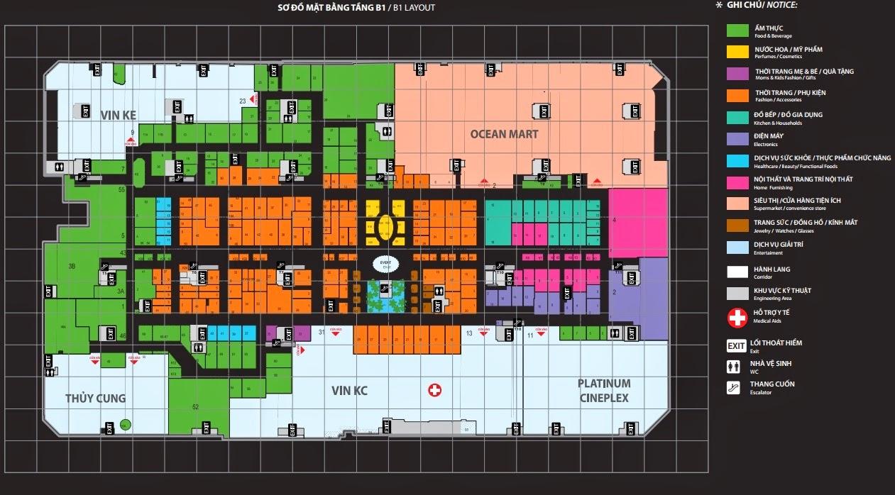 Mặt bằng tầng B1 trung tâm thương mại Vincom Mega Mall Times City