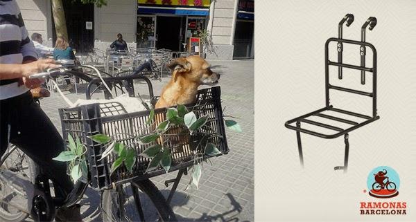 Portaequipajes delantero Flat para llevar tu perro en tu bici de paseo.