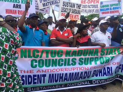 44 NLC and Trade Union congress in Kaduna and Kano march for Buhari anti corruption.