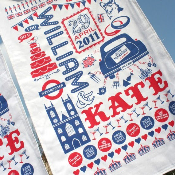 royal wedding tea towel. This whimsical tea towel has a