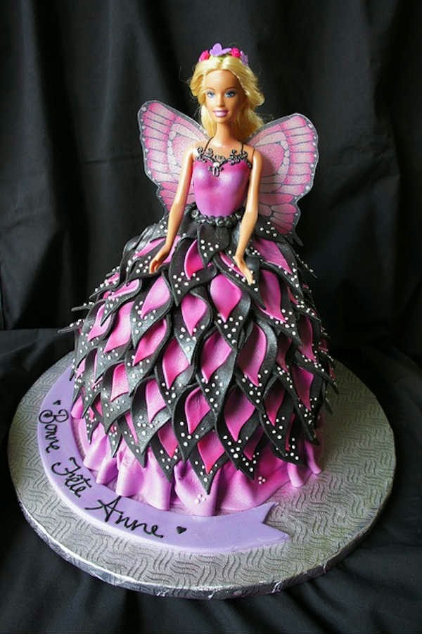 6 cute Barbie girl birthday cake designs