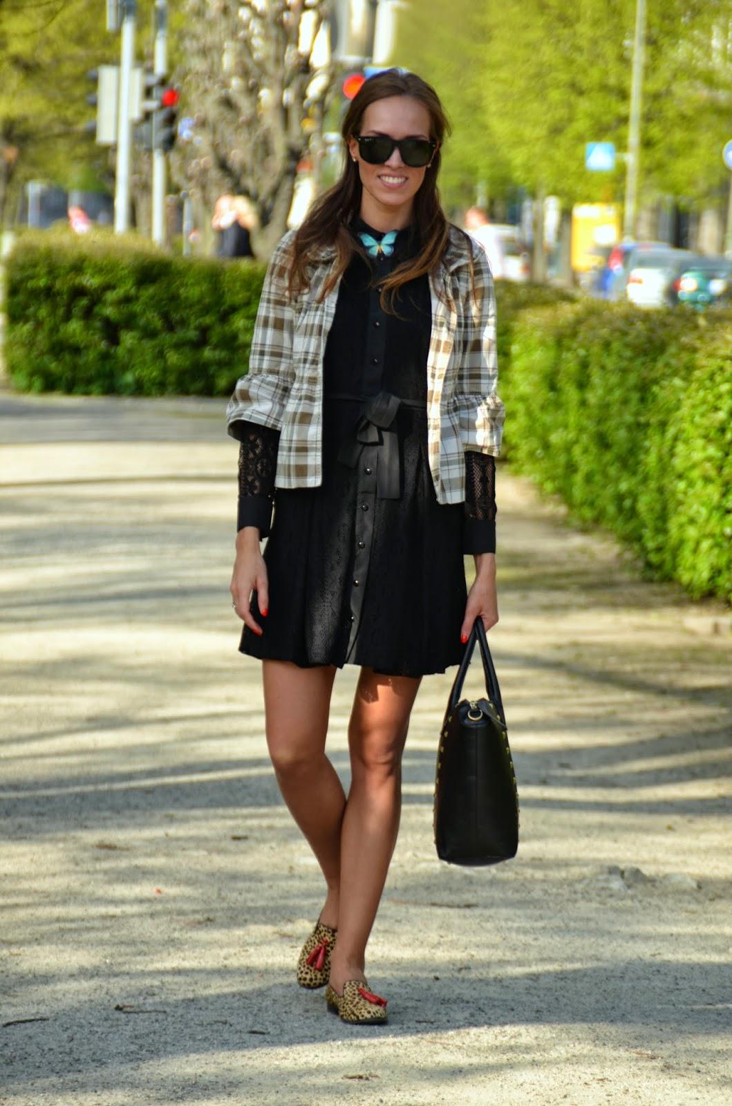 black tallinn dolls lace dress butterfly brooch peplum jacket
