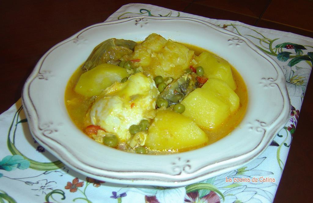 La cocina de catina patatas con bacalao y huevos for Cocina bacalao con patatas