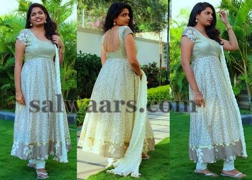 Crepe Printed Cream Anarkali Salwar