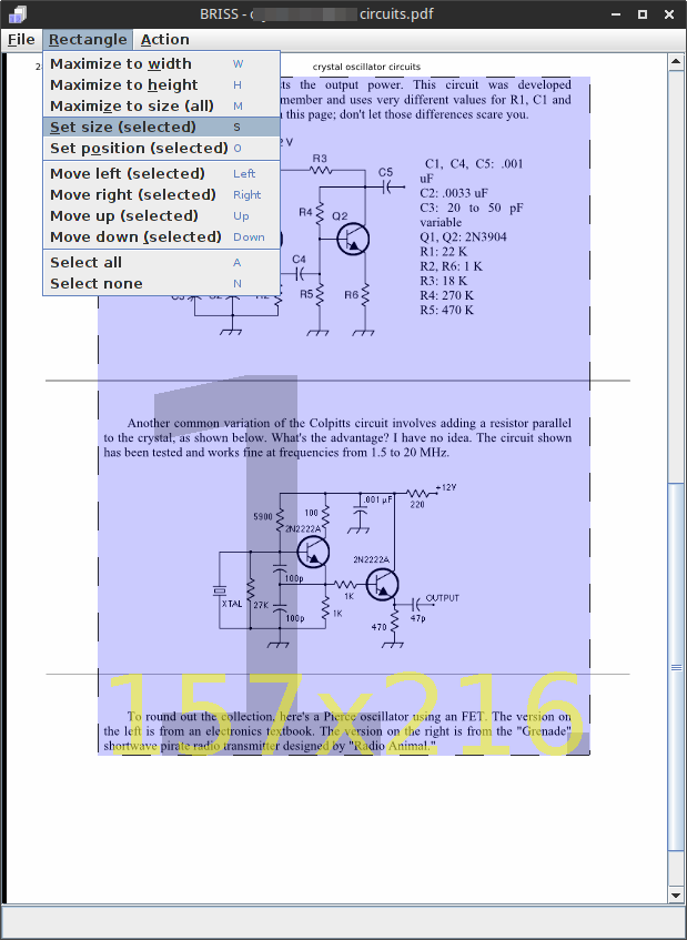 BRISS PDF Crop main window