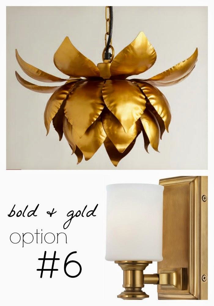 gold powder bathroom lighting
