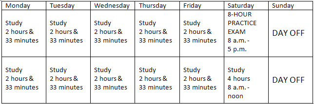 the keystone of these study plans is the 9 hour saturday on this day take a full practice exam during the weekly study sessions following each exam