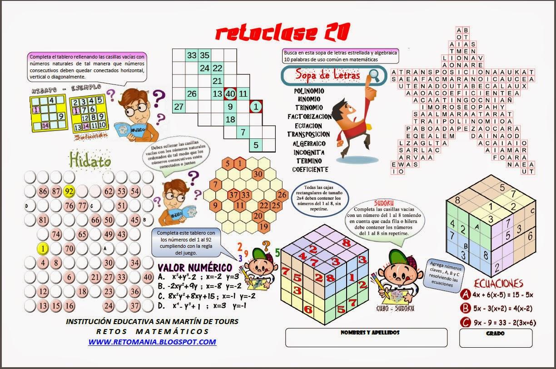 Hidato, Sopa de letras, Sudoku, Sudokubo, Cubo Sudoku, Problemas de ingenio, Problemas matemáticos, Desafíos matemáticos, Juegos matemáticos, Problemas para pensar